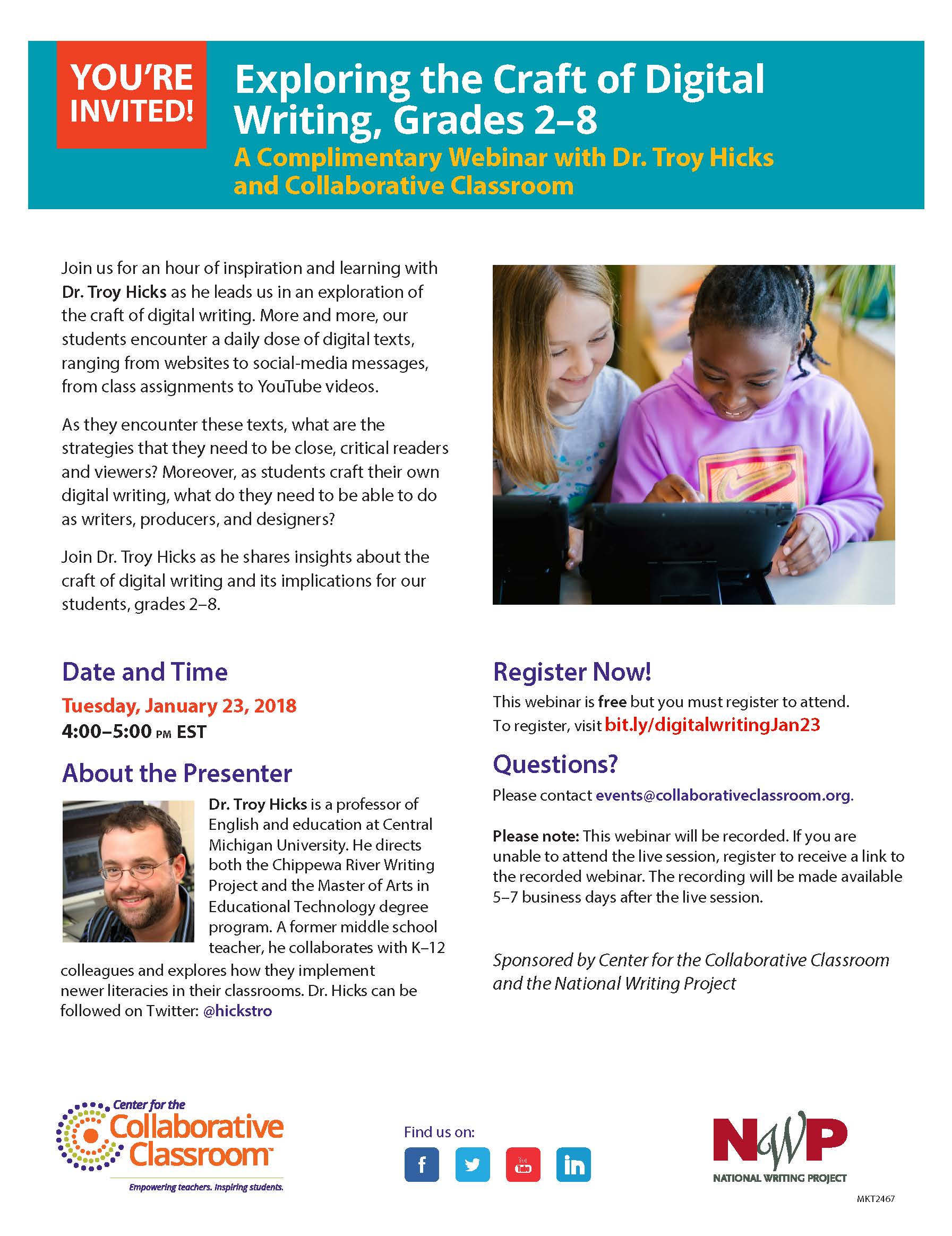 Free Webinar on 1/23/18: Exploring the Craft of Digital Writing, Grades 2–8